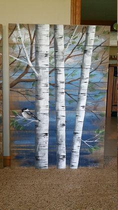 Pallet white birch wall decor Painting 4 by TheWhiteBirchStudio