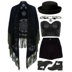 """Bohemian goth"" -No hat -Different jewelry and shoes"