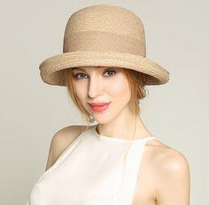 Elegant crimping bowler sun hat for women summer straw hats