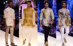 Indian Fashion Trends: Menswear by Manish Malhotra at Lakme Fashion Week - Summer Resort 2014. Bandhgalas and Nehru jackets/vests are all the rage, are as prints.