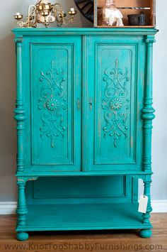 Teal Antique Oak Cabinet - Armoir - Hutch - Entertainment Center. $685.00, via Etsy.