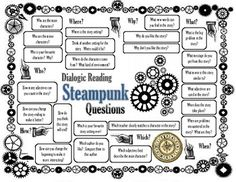 Questions to promote higher order thinking. Useful for guided reading and individual reading. Uses a Steampunk theme.