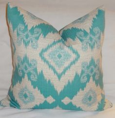 OUTDOOR Blue Ikat Pillow Cover Cushion Covers Porch Decorative Pillows 18x18