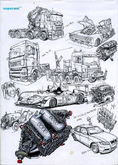 "Kim Jung Gi - Cars and engines ""Jung Gi creates a fine balance in his rendering between his relentless active linework and precise representation."" KB"