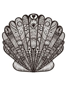 Print off the advanced oyster coloring page and attach together with other Calm as Ocean printable to make a free sea adventure coloring book. Coloring Books, Coloring Pages, Free Coloring, Shell Tattoos, Mandala Drawing, Diy Tattoo, Zentangle Patterns, Zentangles, Pattern Art