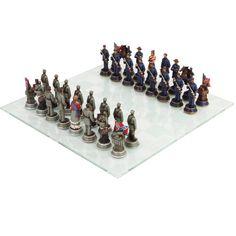 US American Civil War Generals Antiqued Set of Chess Men Pieces NO BOARD