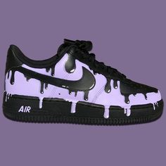 Nike Air Force Ones (Purple Drip) by stickymurphycustoms Custom Painted Shoes, Custom Shoes, Custom Af1, Custom Sneakers, Nike Air Force Ones, Nike Shoes Air Force, Jordan Shoes Girls, Girls Shoes, Shoes Women