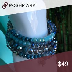 Wrist Bling!! Beautiful Beaded Multi-faceted Iridescent Blue, Silver Bracelet.  SHOWSTOPPER!! Denis and Charles Jewelry Bracelets