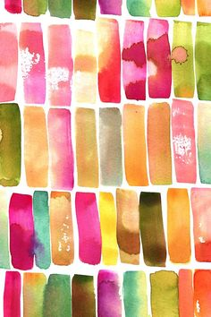Watercolor Strokes by gypseeart.  Handpainted colorful watercolor strokes and splatters on wallpaper, fabric, and gift wrap.