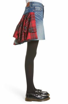 Main Image - Junya Watanabe Tartan Back Denim Miniskirt