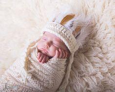 Newborn Indian Headdress, Baby Indian Headband, Crocheted Newborn Photo Prop by BeanieBums on Etsy