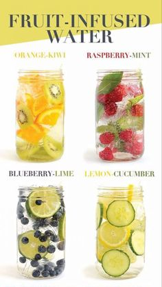 Infused Water Recipes and Benefits – How To Make Fruit Infused Water – Clever DIY Ideas - Obst Infused Water Recipes, Fruit Infused Water, Juice Recipes, Fruit Water, Cleanse Recipes, Infused Waters, Water Water, Bar Recipes, Salad Recipes