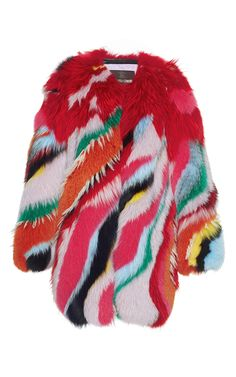 Striped Intarsia Fur Coat by ROBERTO CAVALLI for Preorder on Moda Operandi