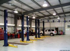 Ironbuilt steel buildings auto body shops and auto repair shops are manufactured with your custom door locations, insulation and office. Your car shop will be pre engineered for fast assembly. Shop Buildings, Metal Buildings, Mechanic Shop, Auto Mechanic, Automotive Shops, Hut House, Car Workshop, Garage Loft, Garage Interior
