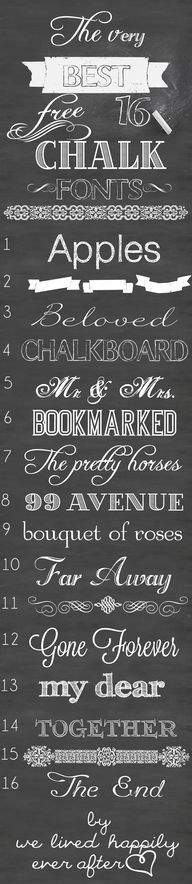 "Chalkboard Fonts: ""The Very Best 16 Free Chalk Fonts"" Free Chalk Font, Chalk Fonts, Chalkboard Lettering, Chalkboard Signs, Typography Fonts, Chalkboards, Vintage Chalkboard, Chalkboard Background, Vintage Fonts"
