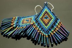 Beaded Earrings with Copper and Blue Delica Seed Beads, Vintage Glass Bugle Beads and Sterling Silver Ear Wires