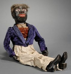 Carved and Painted Wooden Black Ventriloquist's Dummy, America, late century, with interior mechanism. on Mar 2010 Ventriloquist Puppets, Minstrel Show, Collector Dolls, Glitch, Primitives, Art Dolls, Folk Art, Creepy, Dancing