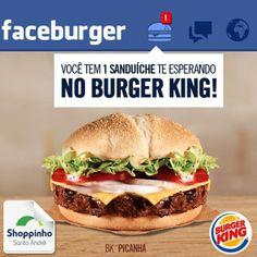 Notificação deliciosa pra hora do almoço :)!   #BK #BurguerKing #ShoppinhoSantoAndré #fome #almoço
