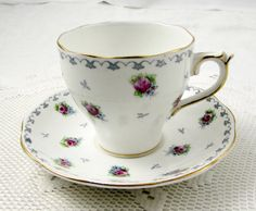 Vintage Tea Cup and Saucer, Bone China, by Roslyn with Small Pink Roses and Grey…