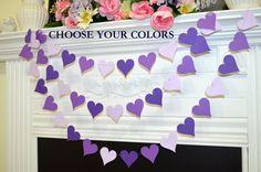 Purple heart Garland, Heart Garland, Wedding Decorations violet hearts birthday party decor, bridal shower decor, party garlands, photo prop door DCBannerDesigns op Etsy https://www.etsy.com/nl/listing/176236353/purple-heart-garland-heart-garland