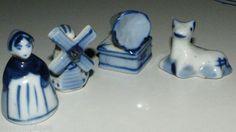 $10.99 Vintage 4pc Set Cobalt Blue White Figurines Windmill Girl Phonograph Animal Look | eBay