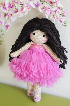 14 Latina Ballerina Crochet Doll Long dark by LinaMarieDolls
