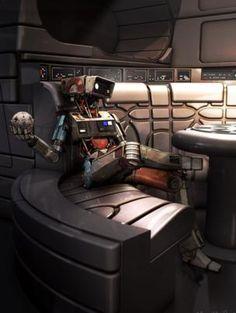 kicks back for a relaxing moment on the Millennium Falcon in Adam Brockbanks Solo: A Star Wars Story concept art. Star Wars Droids, Star Wars Rpg, Star Wars Ships, Dark Maul, Chewbacca, Obi Wan, Sith, Jar Jar Binks, Cyberpunk