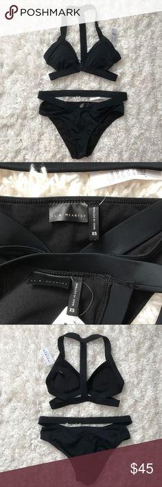 L.A. Hearts Strappy Black Bikini BNWT, L.A. Hearts PacSun strappy black bikini! Will fit an xs/small. Bottoms are cheeky. No trades. PacSun Swim Bikinis