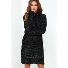 Bushel and a Peck Ivory and Black Speckled Sweater Dress ($49) ❤ liked on Polyvore