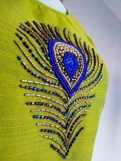 WhatsApp 9035330901 for hand embroidery dress materials customization. (No COD, No wholesale). Embroidery On Kurtis, Hand Embroidery Dress, Kurti Embroidery Design, Embroidery Neck Designs, Aari Embroidery, Bead Embroidery Patterns, Embroidery Works, Creative Embroidery, Embroidery Fashion