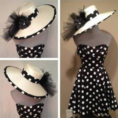 Hannah is wearing black and white polka dots to Derby Day. Looking for hat ideas today and found this. :)