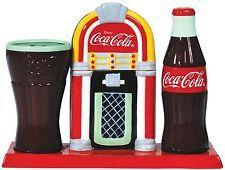Tall Glass Coke Coca Cola Bottle Jukebox Salt Pepper Shakers Toothpick Holder