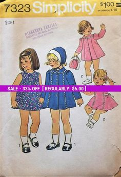 Adorable! - Simplicity sewing pattern #7323 #supplies @EtsyMktgTool #vintage #simplicity #7323 #jacket #hat #sleeveless #dress #sideseams