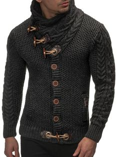Leif Nelson Men's Knitted Turtleneck Cardigan - X-Large - Anthracite at Amazon Men's Clothing store: