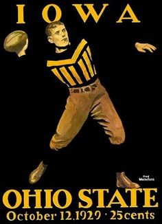 Coles Phillips, Ohio State, Ohio, 1929, football, stamp, stamps, Iowa