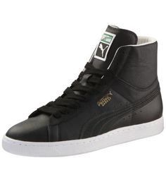 Men's Archive Basket Classic High Tops:  The Basket Classic: Direct from the Trainers Hall of Fame, now redesigned in the PUMA Archive collection.     Unique look with a clear design from 1971.   Upper made of 100% high-quality leather.   Lightly padded upper for flexible and stable movements.   PUMA formstrip and PUMA No.1 logo in gold foil print.