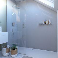 Showerwall White Sparkle waterproof proclick shower wall panel 600 x 2440 Loft Bathroom, White Bathroom, Bathrooms, Bathroom Ideas, Master Bathroom, Bathroom Inspo, Bathroom Designs, Bathroom Renovations, Small Bathroom