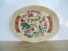 Large Kitschy Bamboo Tray ~ Vintage Florida Souvenir Oval Serving Reed Tropical Red Green Hibiscus Flamingo / Mid Century Retro Kitchen