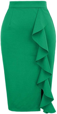 Women's Classic High Waist Slit Ruched Solid Pencil Skirt S Green Latest African Fashion Dresses, African Dresses For Women, African Print Fashion, Classy Work Outfits, Classy Dress, Grace Karin, Pencil Skirt Outfits, Pencil Skirts, Fashion Sewing