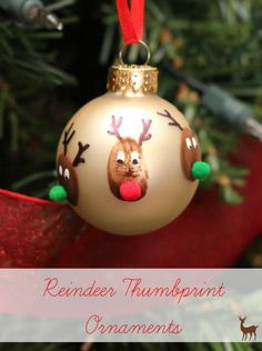 Reindeer Thumbprint Ornaments - Mom vs the Boys