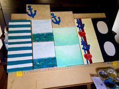 Hand painted canvases for make-it-yourself, customizable thank you gifts.  Nautical themed party favors.