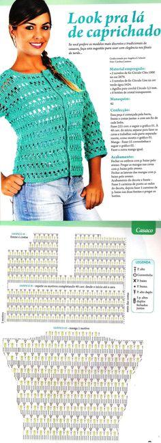 Vivian Crochê   A Moda em um Clique !: CASACO E BLUSA