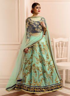 Buy Modernistic Sea Green Banglori Silk A Line Lehenga Choli, Online #lehenga #designerlehenga #bridallehenga