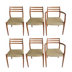 Miraculous Set Of Eight Leather Strap Dining Chairs By