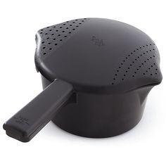 Small Black Micro-Cooker® - The Pampered Chef®  Customized for microwave cooking — melt butter, heat soups or cook vegetables. Vented lid doubles as strainer. Includes built-in pour spouts. 1 qt. In black.