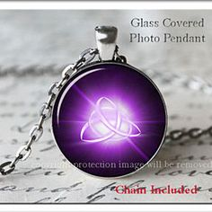 Celtic Triquetra Purple Charmed Art Silver necklace Glass pendant, pagan Jewelry by ChicBridalBoutique on Opensky