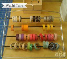 Clothes hanger - Washi Tape Storage - but for my bracelets instead Scrapbook Storage, Scrapbook Organization, Sewing Room Organization, Craft Room Storage, Craft Rooms, Storage Ideas, Washi Tape Storage, Washi Tape Crafts, Washi Tapes