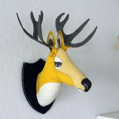 Yellow Deer Head Original Contemporary Folk by cartbeforethehorse, $150.00