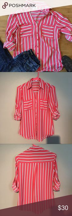 """Express Striped Portofino Pink button down portofino with white stripes with black outline. Convertible sleeves. 2 front pockets. Original fit. Slightly sheer. Longer in center than sides. Worn once and in excellent condition. Approximately 18"""" across the bust when laid flat. Approximately 24 1/2"""" from shoulder to hem at shortest point and 27"""" at longest point. 100% polyester  NO TRADES OR MODELING Express Tops Button Down Shirts"""