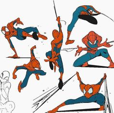 "Drawing Comics SpiderMan - ""spideys in between board panels ^^"" Spiderman Poses, Spiderman Kunst, Spiderman Drawing, Spiderman Anime, Character Poses, Character Art, Figure Drawing, Drawing Reference, Anatomy Reference"